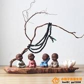 創意紫砂琴棋書畫多肉花盆裝飾迷你茶寵擺件精品可養【小桃子】