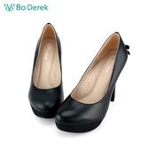 Bo Derek 素雅後蝴蝶結高跟婚鞋-黑色