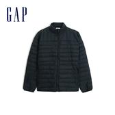 Gap 男裝 簡約純色輕薄款羽絨衣 473537-純正黑色