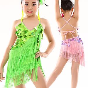 女童拉丁裙.跳舞表演服裝.無袖練功裙表演比賽規定服練習服套裝.專賣店特賣會便宜推薦哪裡買