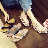 拖鞋女真皮套趾軟木拖鞋女夏時尚平底外穿防滑沙灘鞋夾腳涼拖鞋女
