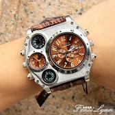 Oulm歐鐳幾何圓盤創意手錶概念男錶歐美大盤嘻哈手錶陸軍手錶1349 中秋節全館免運