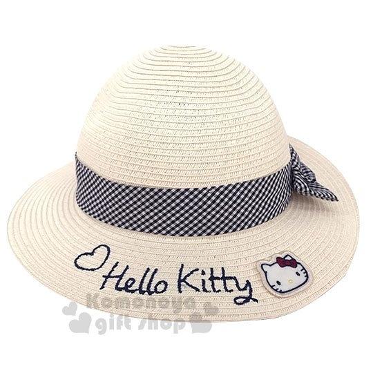 〔小禮堂〕Hello Kitty 兒童藤編圓頂草帽《米.黑緞帶》編織帽.2019夏日兒童服飾 4901610-12965