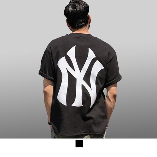 【男人幫大尺碼】T8044*台灣製造NY洋基英文字母加大尺碼純棉圖案T恤