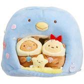 〔小禮堂〕角落生物 企鵝造型絨毛玩偶娃娃屋《藍棕》公仔.擺飾.絨毛收納盒 4974413-73516