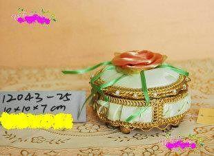 裝飾用品 歐式豪華維多利風格 鐵藝布藝工藝品首飾盒