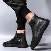 冬季雪地靴男鞋潮鞋高筒馬丁皮靴中幫英倫風工裝防水棉鞋 新年禮物