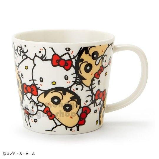 〔小禮堂〕Hello Kitty x 蠟筆小新 日製陶瓷馬克杯《白紅.大臉滿版》咖啡杯.金正陶器 4964412-13233