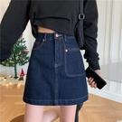 大碼牛仔半身裙女高腰短裙2021早春新款胖mm顯瘦a字裙復古包臀裙 果果輕時尚