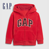 Gap男幼童 Logo剪毛絨舒適拉鍊連帽衫 592928-紅色