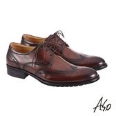 A.S.O職場通勤 萬步健康鞋 外耳式綁帶款紳士鞋-咖啡