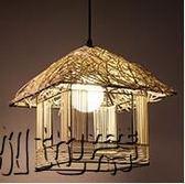 吊燈現代藤藝吊燈手工編織圓形「潮咖地帶」