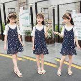 女童時髦套裝大童吊帶裙兩件套12洋氣15歲雪紡連身裙  茱莉亞嚴選