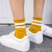 春秋季棉質女士中筒襪正韓二條杠襪子薄款堆堆襪捲邊百搭短襪 【快速出貨八五折鉅惠】