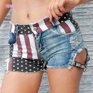 衣美姬♥夏季女牛仔短褲 性感國旗 高腰破洞造型 熱褲 外出休閒百搭短褲