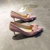 春夏款尖頭單鞋細跟高跟鞋貓跟鞋淺口蝴蝶結甜美系淑女粉紅色女鞋婚鞋