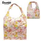 粉色款【日本正版】雙子星 摺疊 購物袋 環保袋 手提袋 防潑水 KIKILALA 三麗鷗 Sanrio - 466985