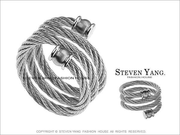 鋼戒指 西德鋼飾 流行時尚雙頭鋼索
