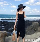 沙灘洋裝 泰國海邊度假風小黑裙v領露背吊帶裙顯瘦性感沙灘長裙海灘連衣裙 歐歐