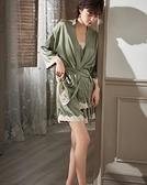 睡衣女夏季三件套冰絲薄款性感吊帶短褲日式和服家居服錢夫人小舖
