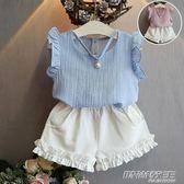 新款韓版女童短袖短褲兩件套女孩木耳邊時尚套裝   時尚教主