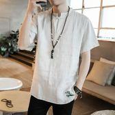 中國風亞麻短袖t恤男裝中式盤扣寬鬆亞麻休閒上衣大呎碼圓領半截袖【限時85折】