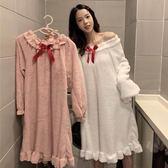 秋冬女裝韓版甜美可愛珊瑚絨加厚保暖睡衣寬鬆中長款長袖睡裙學生