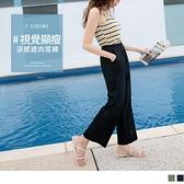 《BA5551》純色微涼感修身藏肉腰鬆緊長寬褲--適 XL~5L OrangeBear
