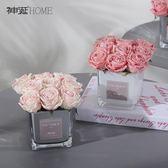 仿真花 假花 輕奢仿真花手感保濕玫瑰花客廳餐桌假花裝飾擺件花束生日禮物禮盒 巴黎春天