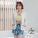 比基尼泳裝-日本品牌AngelLuna 現貨 黃色荷葉水母衣外套四件式比基尼溫泉沙灘泳衣
