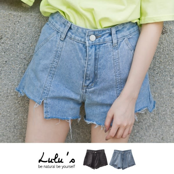 LULUS-Y-前車線小開叉缺口牛仔短褲S-XL-2色  現+預【04020481】