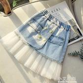 女童牛仔半身裙夏季2020新款兒童時髦裙子中大童紗裙女孩短裙洋氣【小艾新品】