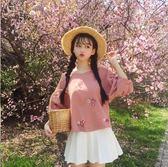 棉麻上衣 女裝韓版小清新花朵刺繡短款寬鬆棉麻短袖T恤半袖打底衫上衣  綠光森林
