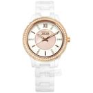NATURALLY JOJO / JO96933-80R / 精緻優雅 珍珠母貝 羅馬刻度 晶鑽錶圈 藍寶石水晶玻璃 陶瓷手錶 白色 36mm