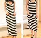 DE shop -修身條紋全棉修身顯瘦背心洋裝   (HL-142)