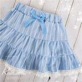 雲朵藍條紋棉麻緹花短裙(內有安全褲)(270073)★水娃娃時尚童裝★