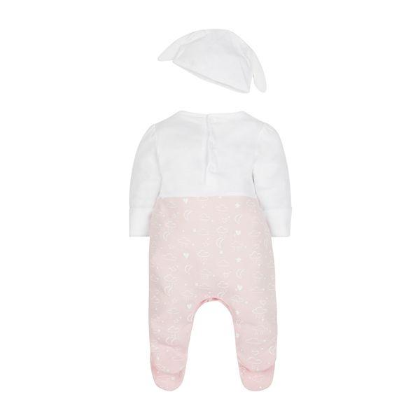 mothercare 秋冬女嬰帶腳套連身兔裝(含帽子)-粉藍粉紅-粉色(M0JF248)12M