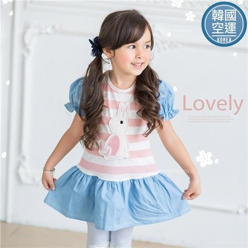 韓國童裝~布偶兔橫條紋傘狀花苞袖洋裝長版上衣(250662)★水娃娃時尚童裝★