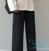 直筒褲 灰色運動褲女褲高腰垂感2019新款秋冬季加絨休閒褲寬鬆直筒