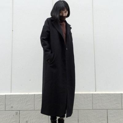 毛呢大衣-長版時尚流行寬鬆百搭女風衣外套73ki7[巴黎精品]