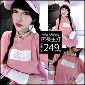 克妹Ke-Mei【AT48257】歐美SINCE1989 假二件背後字母圖印棒球袖T洋裝
