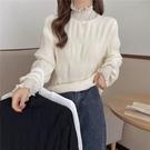 上衣 秋冬2021年新款蕾絲半高領打底衫女內搭加絨加厚保暖長袖百搭上衣 歐歐
