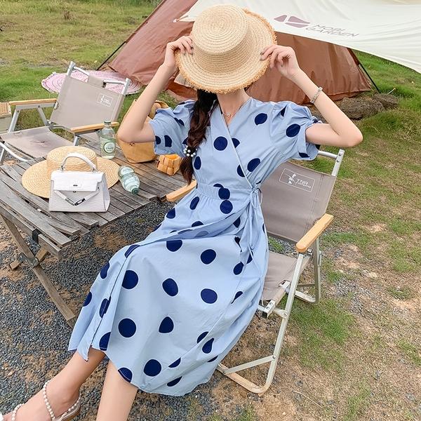 VK精品服飾 韓國風桔梗時尚系列氣質收腰波點長裙短袖洋裝