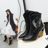 大尺碼女鞋34~43  帥氣蛇紋拼接尖頭高跟短靴~2色
