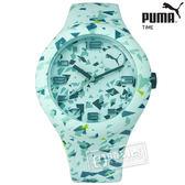 PUMA / PU103211024 / 繽紛幾何層次運動矽膠腕錶 綠色 47mm★加購鋼化玻璃膜★