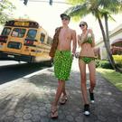 黑綠螢光圖騰 鋼圈泳裝 比基尼 泳衣 泳裝 (不含男生沙灘褲) 比基尼 橘魔法 Baby magic 現貨