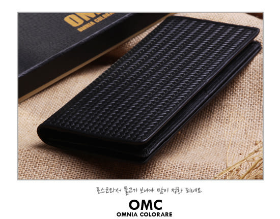 OMC - 六角編織系真皮款12卡1照長夾