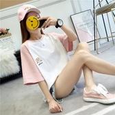 短袖T恤女新款韓版寬鬆學生百搭拼色半袖上衣