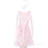 BLUGIRL 粉色織花裝飾亮片綴飾無袖洋裝 1320140-05