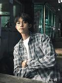 襯衫日系夏季港風寬鬆長袖格子襯衫男外套ins韓版襯衣復古潮流上衣服海角七號
